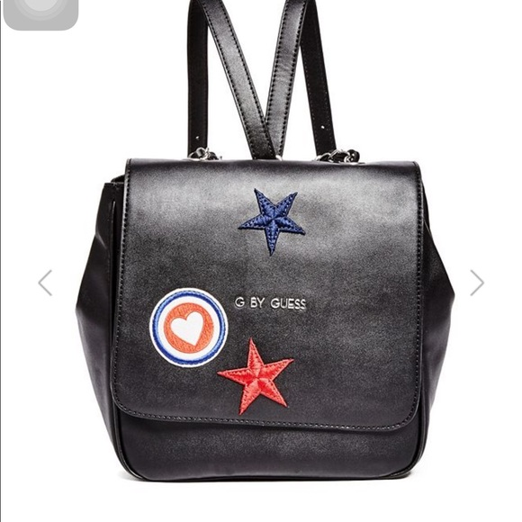 Guess Backpack in faux leather with patches black | Maximilian